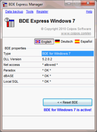 BDE eXpress Windows 7 screenshot